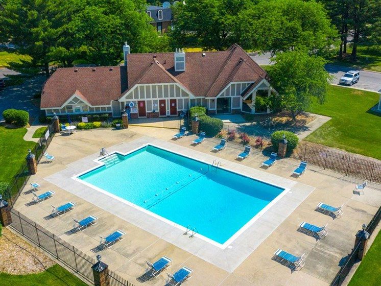 Aerial View Of Pool at Hickory Village Apartments, Mishawaka, Indiana