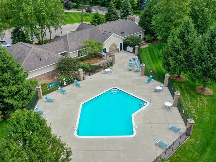 Aerial View Of Pool at The Highlands Apartments, Elkhart, 46514