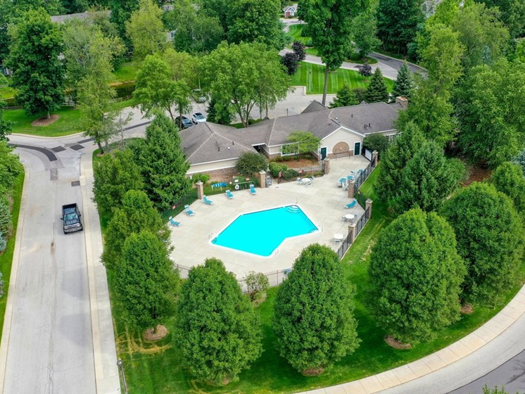 Aerial View Of Pool at The Highlands Apartments, Elkhart, Indiana