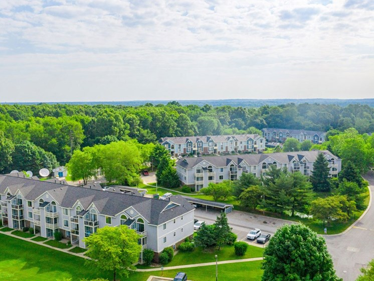 Aerial View Of The Community at Hurwich Farms Apartments, South Bend