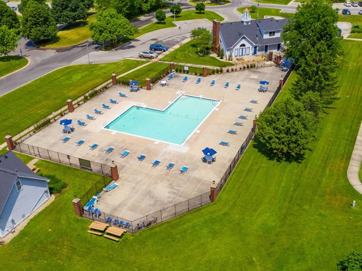 Aerial View Of The Swimming Pool at Indian Lakes Apartments, Indiana