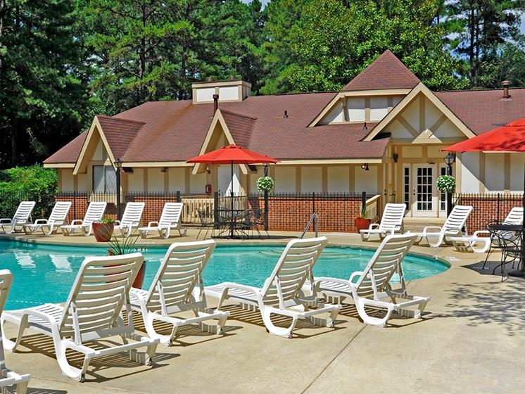 Poolside Sundeck at Laurel Woods Apartments, Greenville, 29607