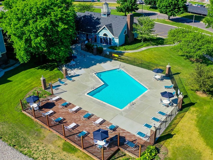 Relaxing Swimming Pool Aerial View at North Pointe Apartments, Elkhart, IN