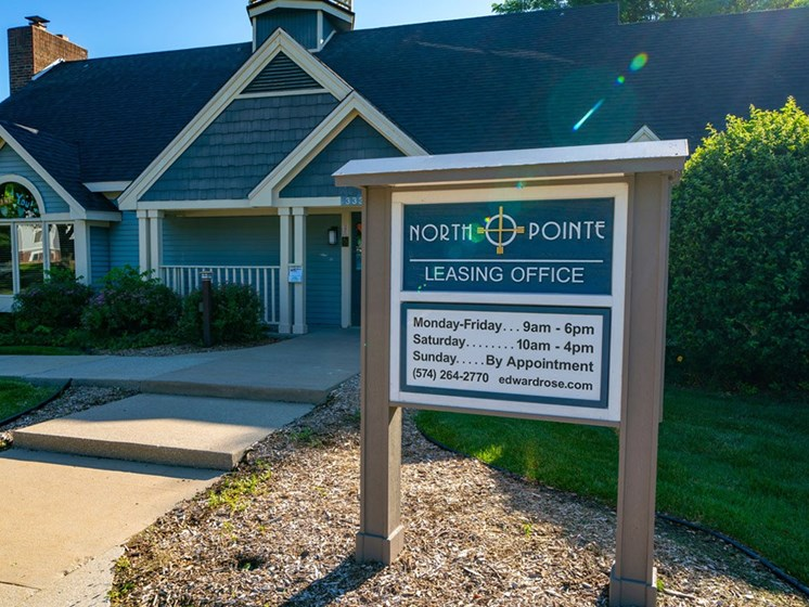 Welcoming Property Sign at North Pointe Apartments, Elkhart, IN, 46514