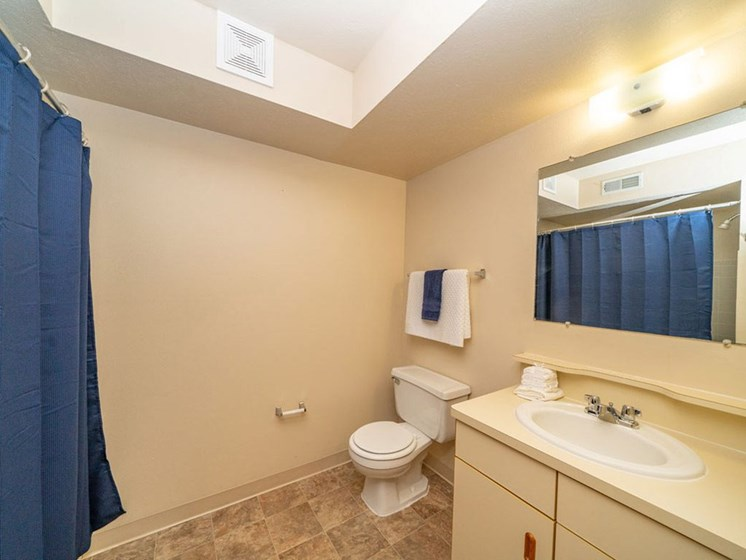 Western Toilet In Bathroom at North Pointe Apartments, Elkhart