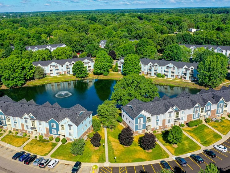 Aerial View Of Community and Green City at North Pointe Apartments, Indiana, 46514