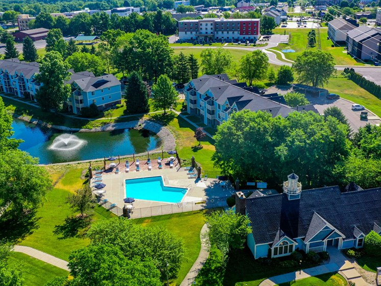 Lake With Lush Natural Surrounding at North Pointe Apartments, Elkhart, Indiana