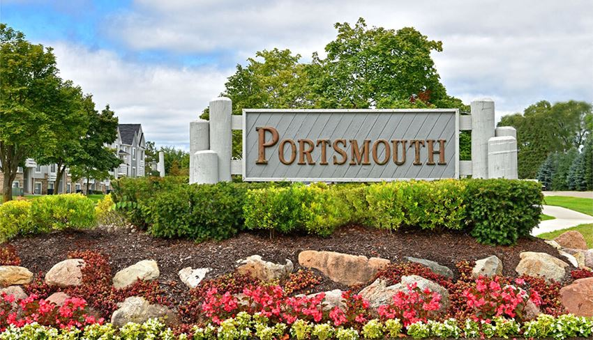 Property Entrance Sign at Portsmouth Apartments, Novi