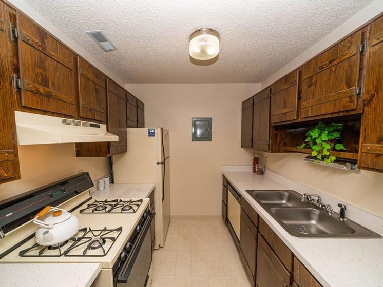 Modern Kitchen With Custom Cabinet at Seville Apartments, Kalamazoo, Michigan