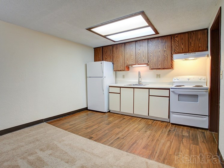 Kitchen area with vinyl flooring