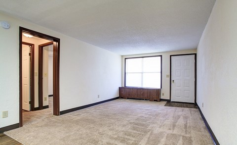 Living area with plush beige carpeting, and a large picture window.