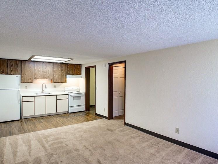 Living room overlooking kitchen area