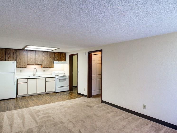 Living room overlookig kitchen area