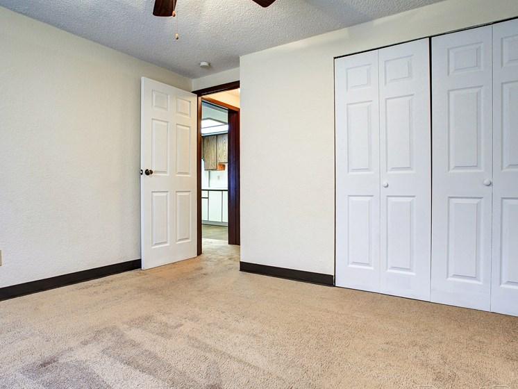 Bedroom with closet door