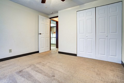 Bedroom with plush carpeting, and a large white closet.