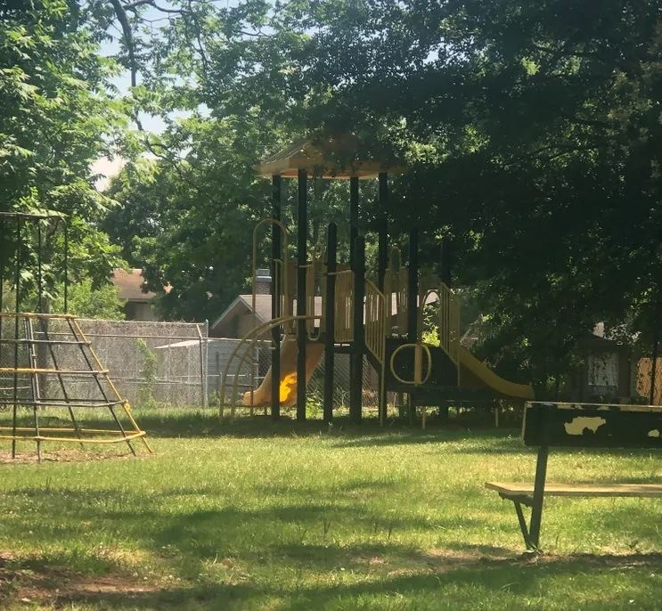 Playscape area surrounded by trees