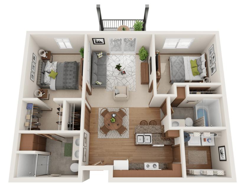 Two bedroom 2 bath 3D floorplan