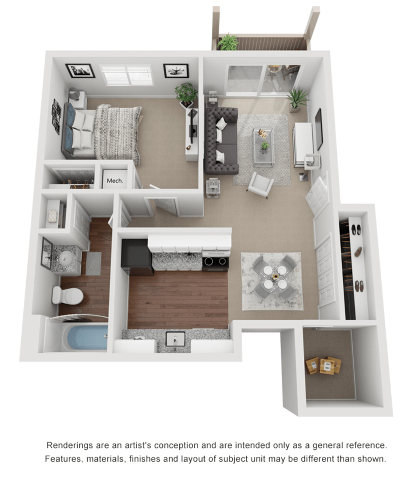 1 Bed 1 Bath 600 sq ft 3D floor plan.