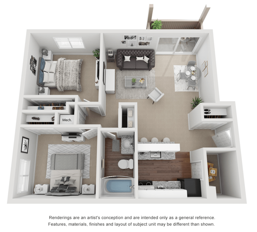 2 Bed 1 Bath 800 sq ft 3D floor plan.