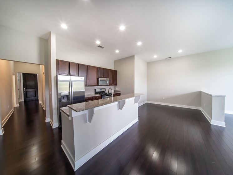 Kitchen with high ceilings, ressessed lighting,