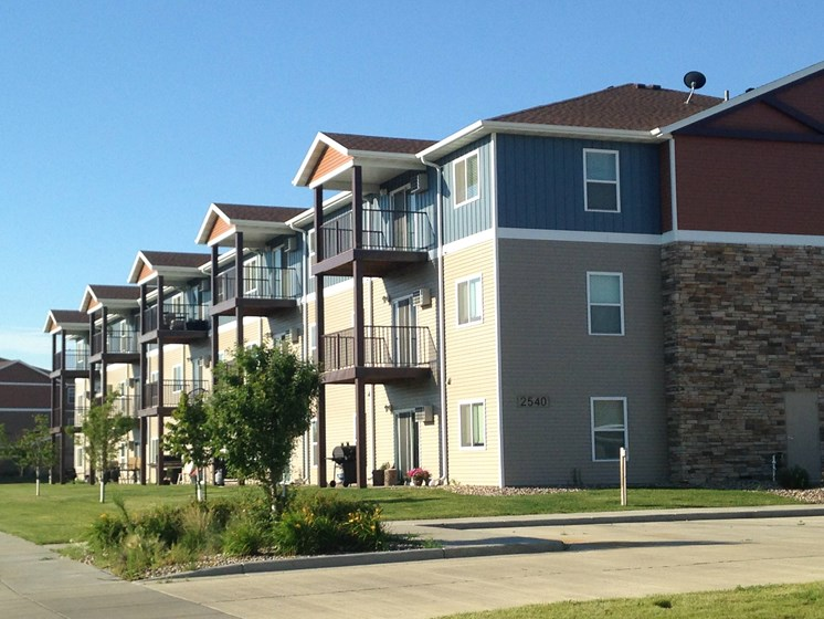 Exterior of apartment building with balconies