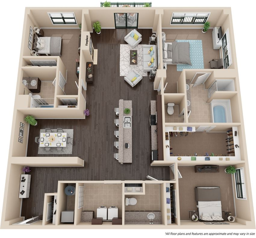 Two bedroom floorplan layout