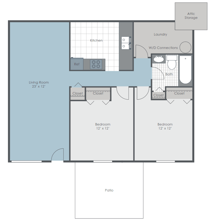 2 bedroom floor plan layout