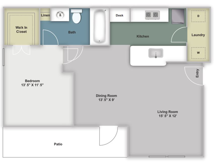 One bedroom, one bathroom two dimensional floor plan with one patio and washer/dryer connections.