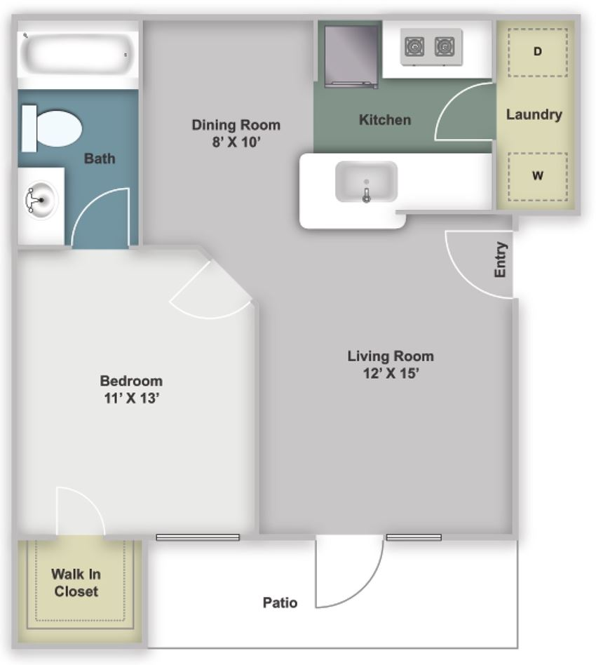 One bedroom, one bathroom 620 square feet two dimensional floor plan.