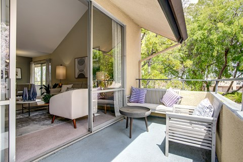 Sliding glass doors to patio from living area