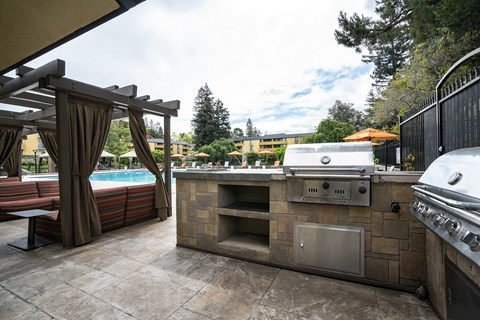 Outdoor grill and seating area