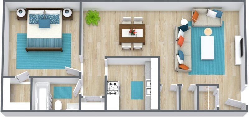 Three dimensional image of a one bedroom floor plan