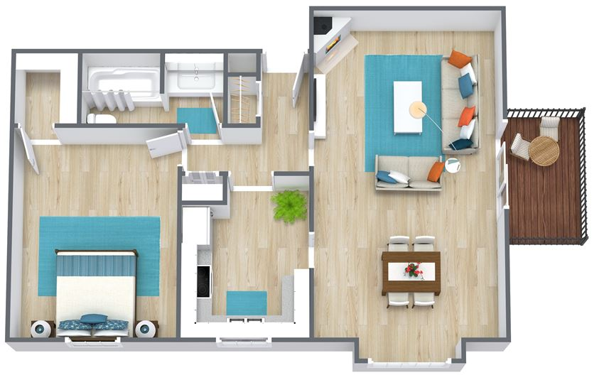 3D floor plan of a one bedroom