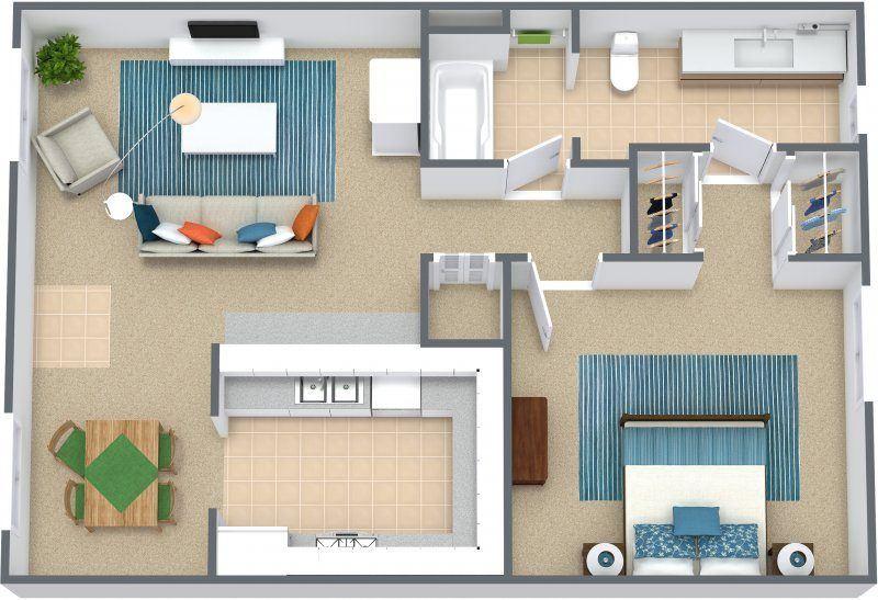 Three dimensional floor plan of a one bedroom