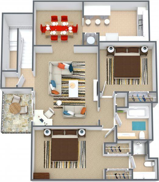 Three dimensional floor plan of a two bedroom