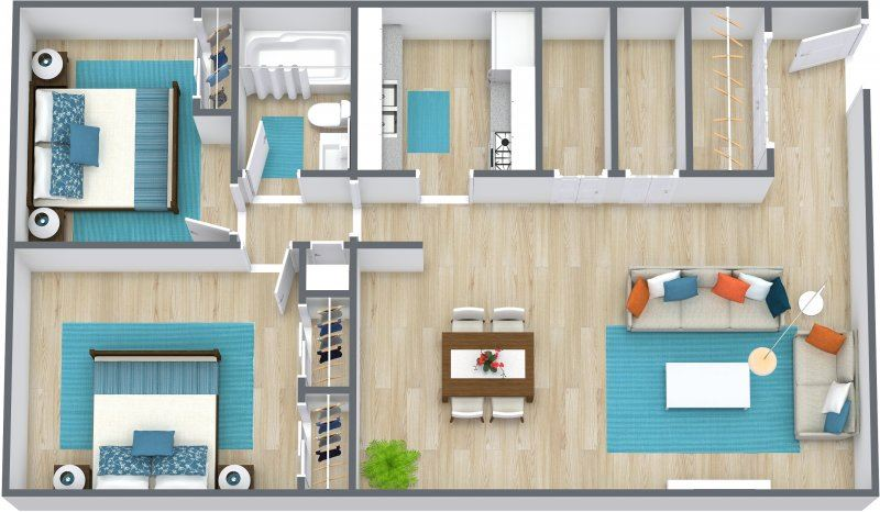 Three dimensional image of a two bedroom floor plan