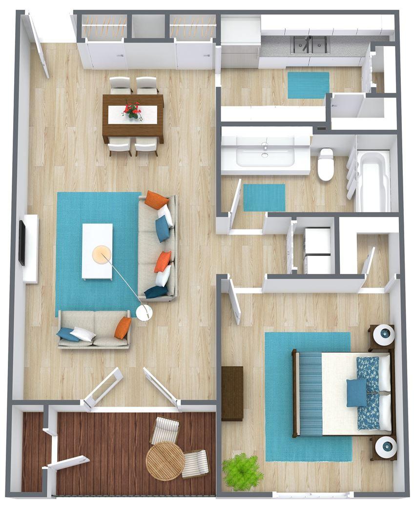 3d floor plan of one bedroom