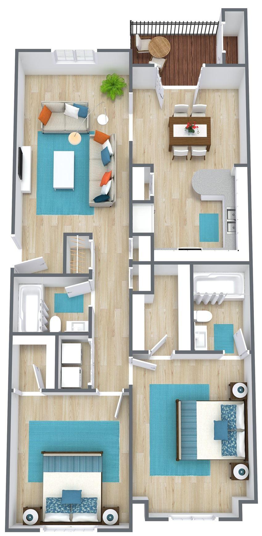 3D floor plan of two bedroom