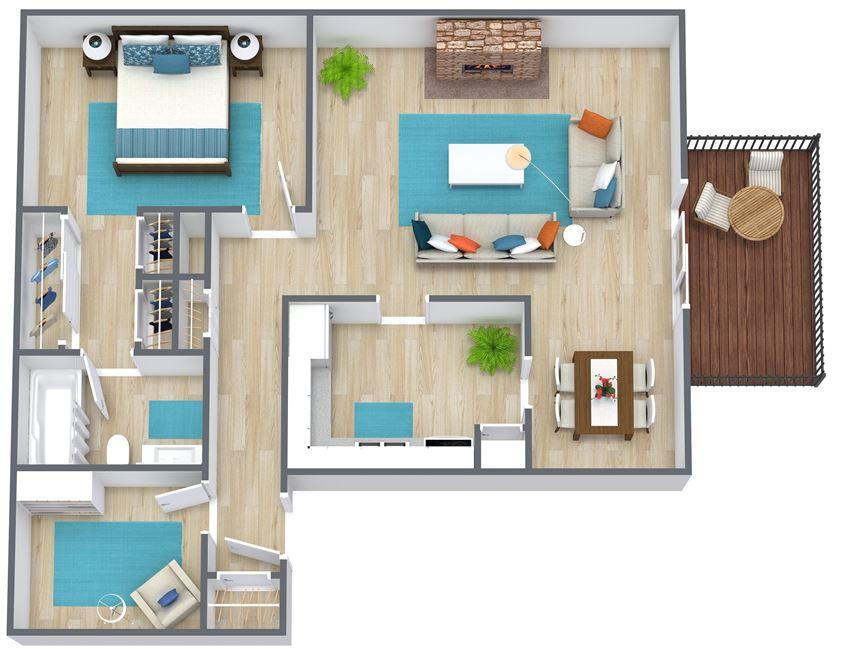 3D floor plan of a one bedroom with den