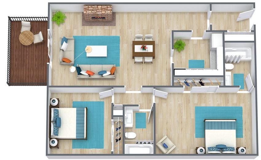 3D floor plan of a two bedroom