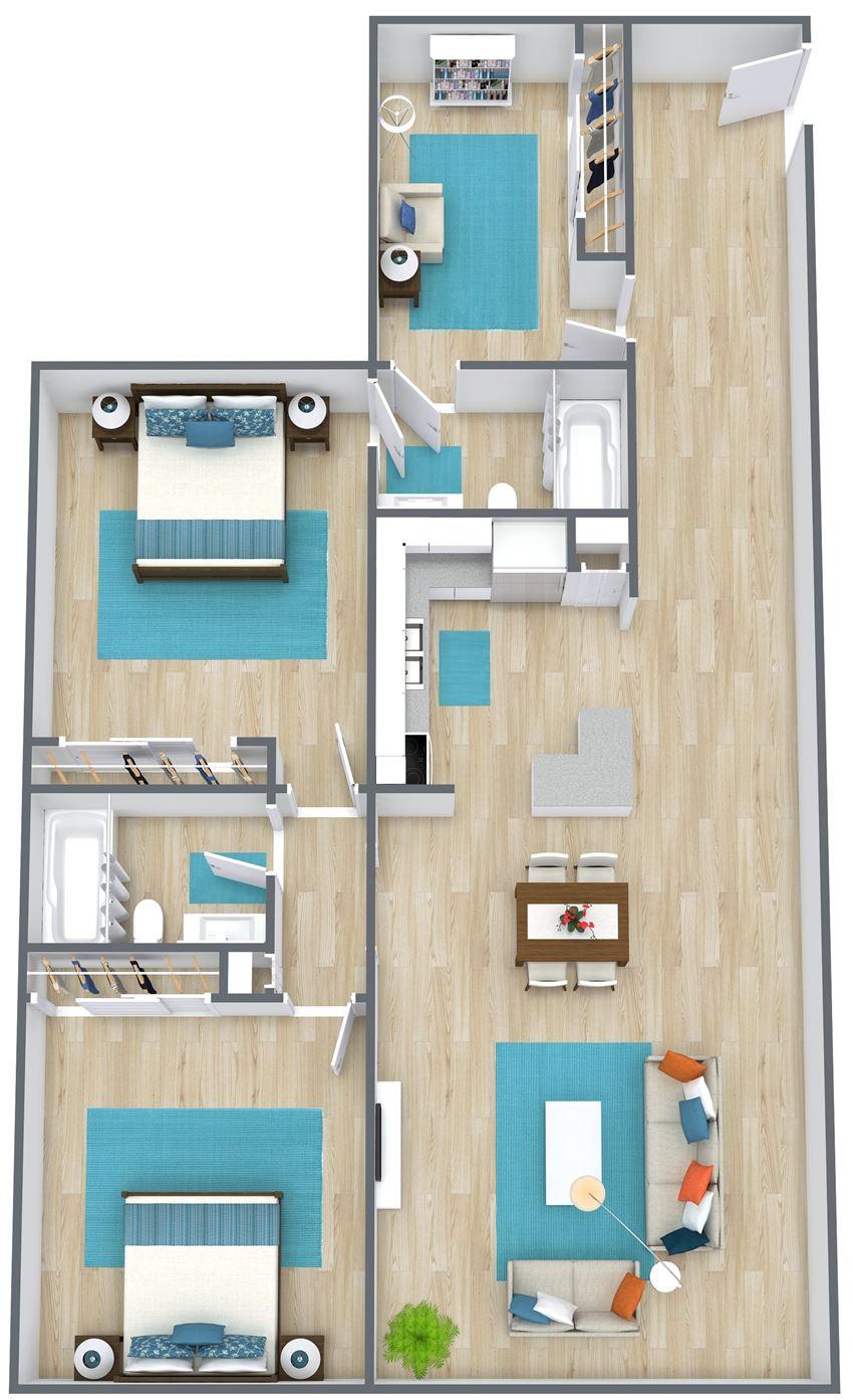 3D floor plan of a two bedroom with den
