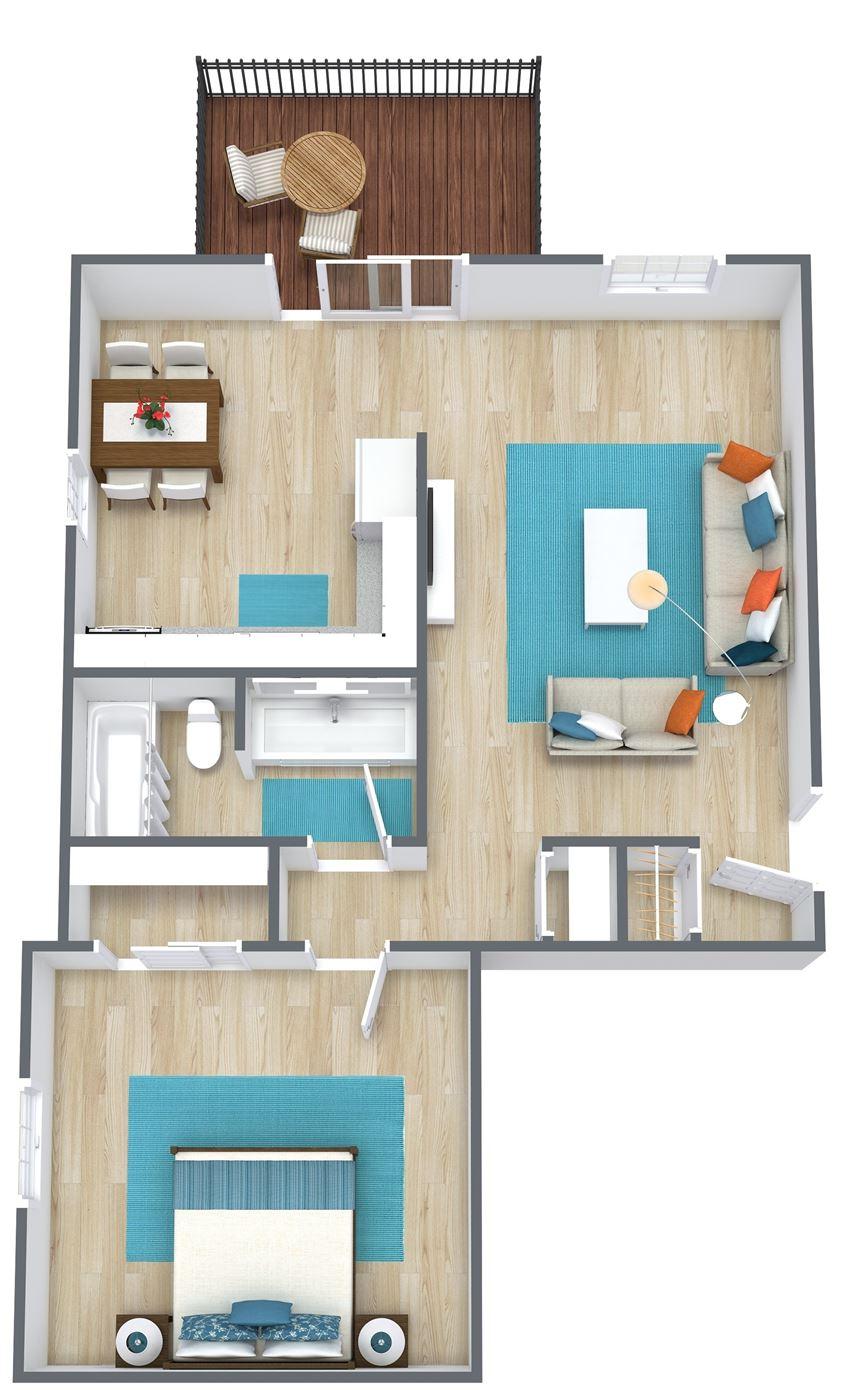 3d rendering of a one bedroom floor plan