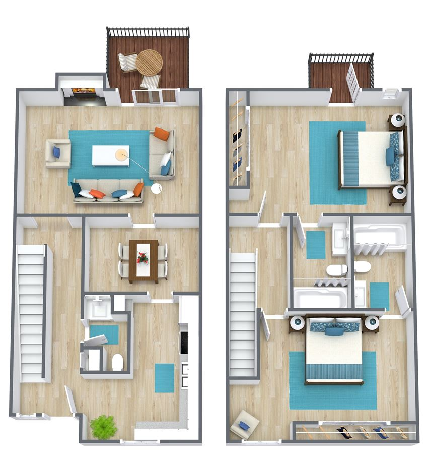 3D floor plan of a two bedroom town home