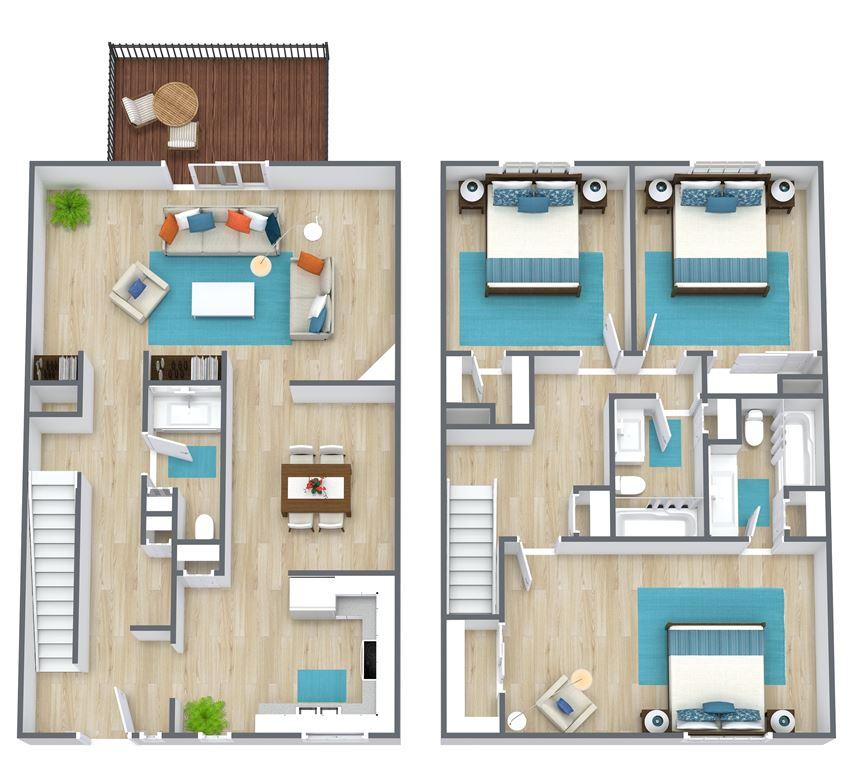 3D floor plan of a three bedroom