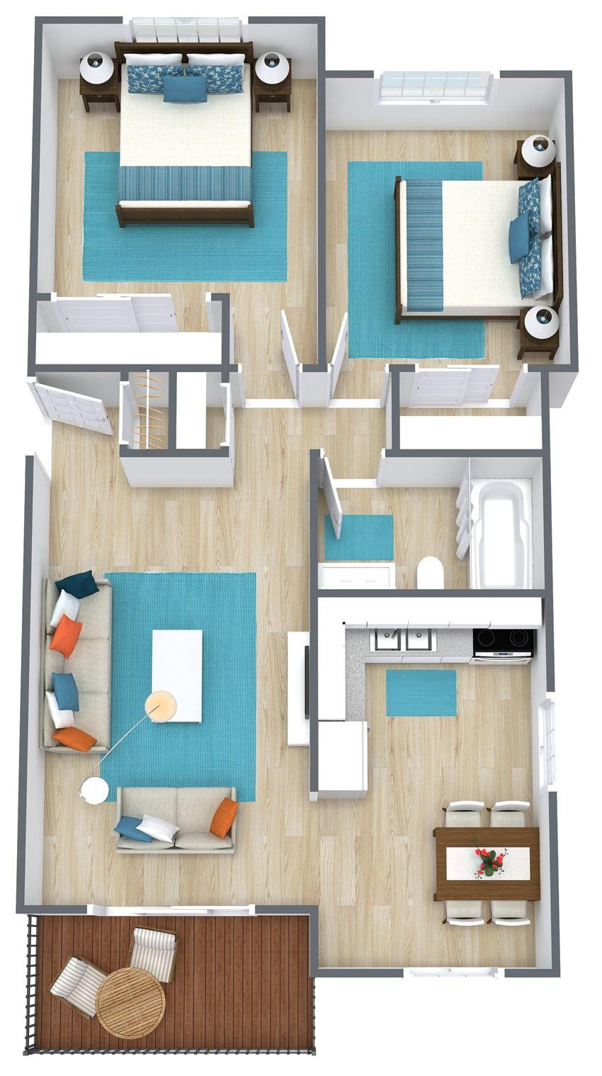 3d rendering of a two bedroom floor plan