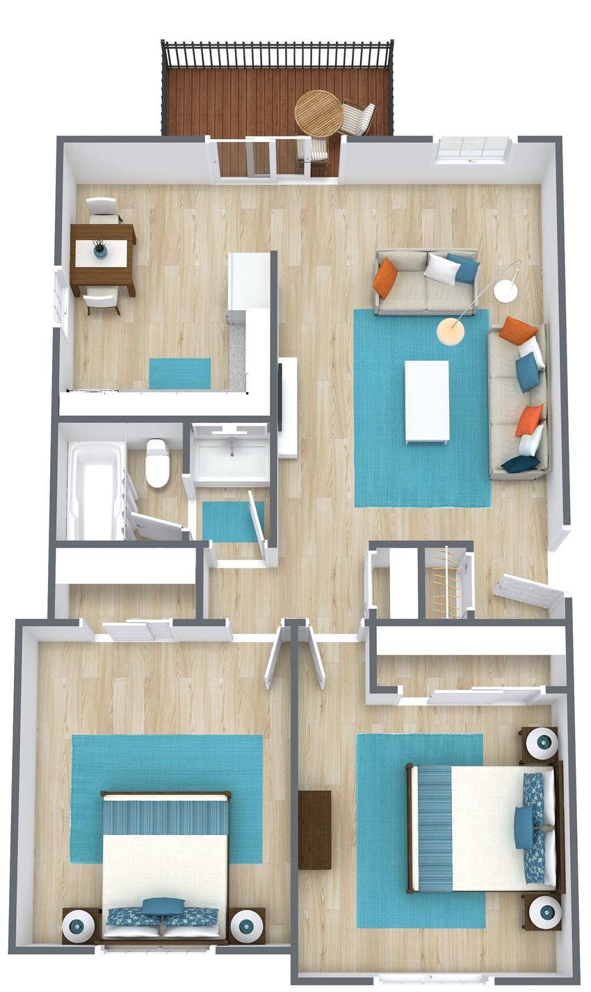 3d image of 2 bedroom floor plan