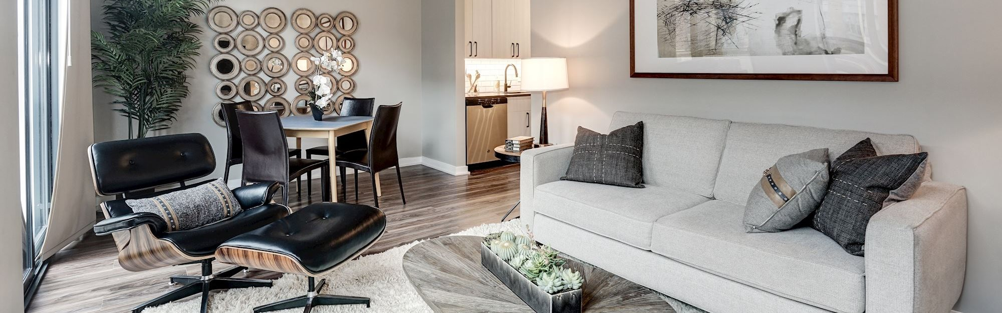 Coda on H Apartments Model Living and Dining Room