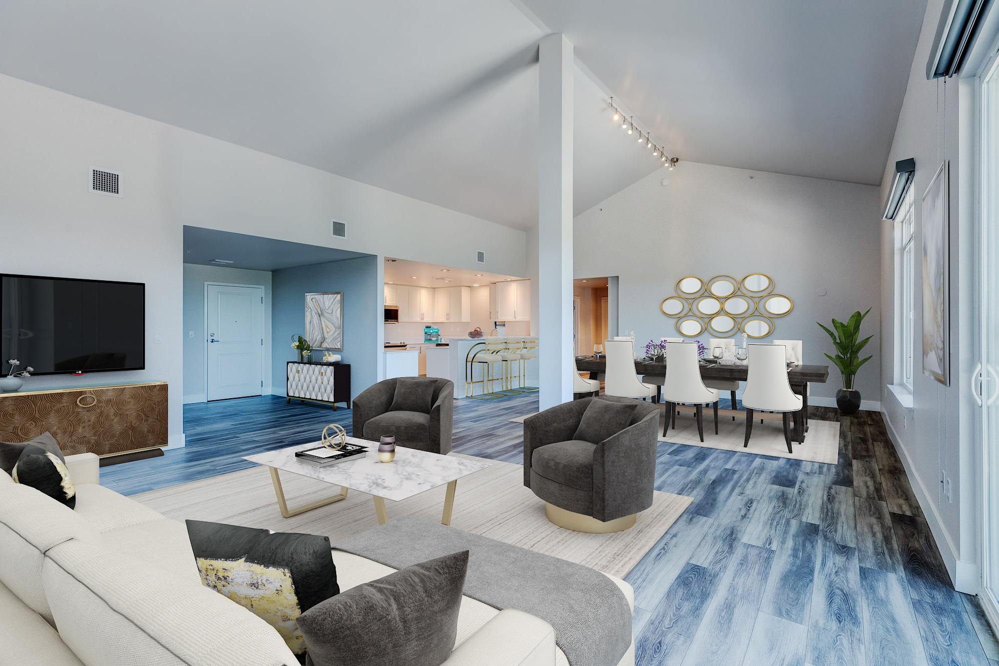 The Mercer Penthouse Model Living and Dining Room