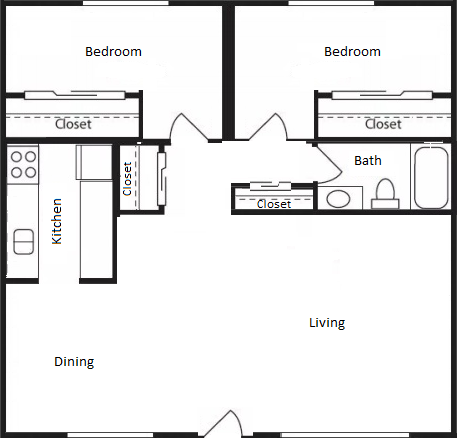 Wisteria Walk Apartments 2 Bed 1 Bath Floor Plan