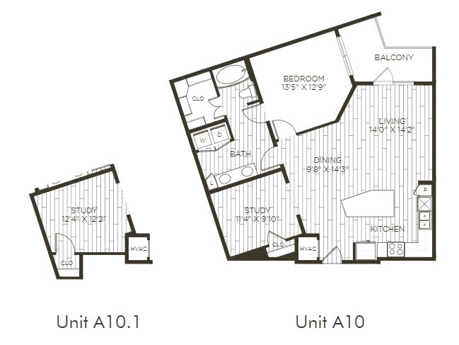 Aura Old Town A10.1 One Bedroom One Bathroom Floor Plan